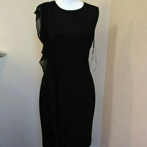 NWT Clavin Klein Black Chiffon Scuba Dress 14